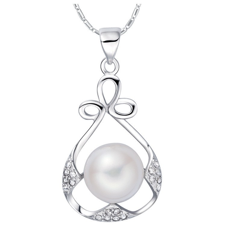 SJ N1244 New Arrival Copper Single Pearl High Polish Round Cubic Zirconia Platinum Plated Water Drop Pendant Necklace