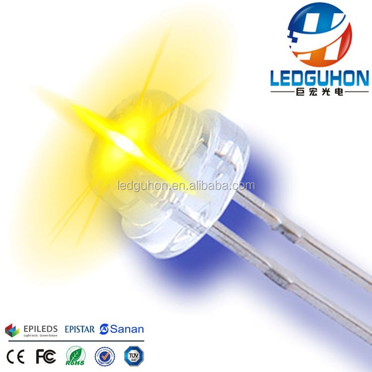 sell 4.8/5mm short legs straw hat 590nm yellow led diode