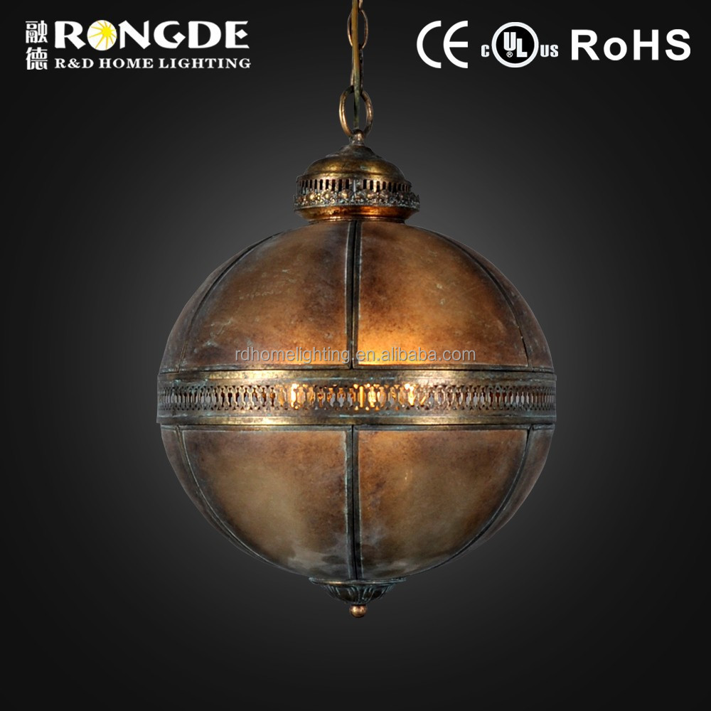 Made in china antique round ball brass pendant light