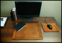 Desk Pad and Mouse Pad Set - Desk Blotter and Mousepad - Full Grain Leather