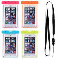 Clear designer waterproof mobile cell phone neck pouch