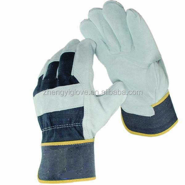 cow split industrial leather hand gloves with cheap price