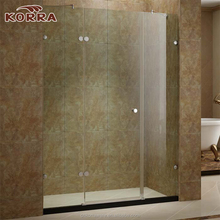 Rectangle Hinged open style Shower Screen ,1 Hinged tempered Door and 1 Fixed Glass Panel bath shower cabin