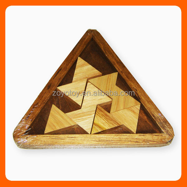 Handmade wooden triangle toys