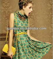 New arrival classical jewish print girl dress Fashion 2015 summer