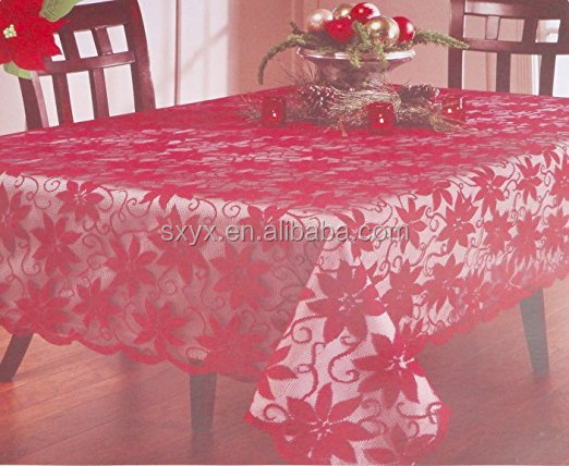Christmas Red Poinsettia Flower Lace Easy Care polyester Fabric 60inch by 84inch Tablecloth Overlay Linens