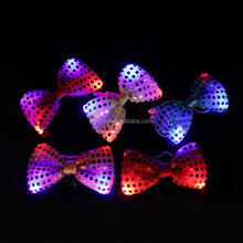 2016 Promotion low price fashion men led tie for Sequin LED Satin Green flashing bow tie