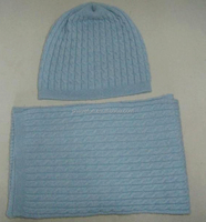 12gg cable knitted 100% pure cashmere wholesale hat scarf sets