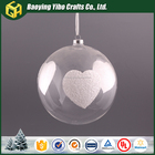 2016 Clear hanging glass ball with white heart for Christmas ornament