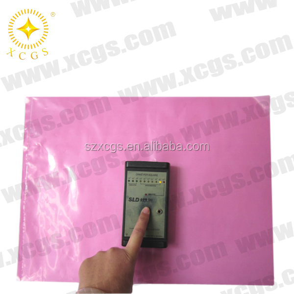 OEM antistatic shielding pink PE esd zipper bag for phone accessories