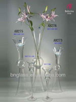 Ballerina wholesale different shape environmental clear tall glass trumpet vase
