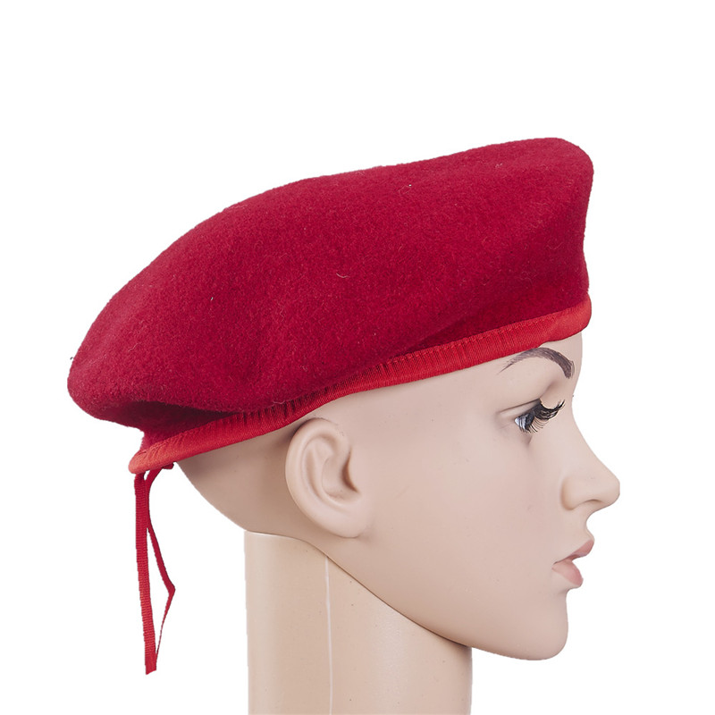 High quality 100% wool plain pattern military red beret