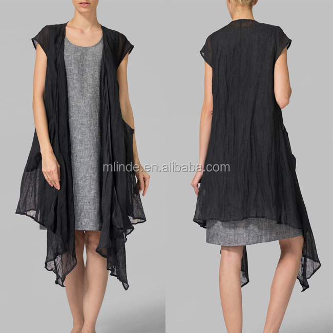 Wholesale Cheap Bulk Buy Loose Fit Cool Summer Fashion Gauzy Cotton Cardigan Linen Cap Sleeve Black Long Tunic Blouse