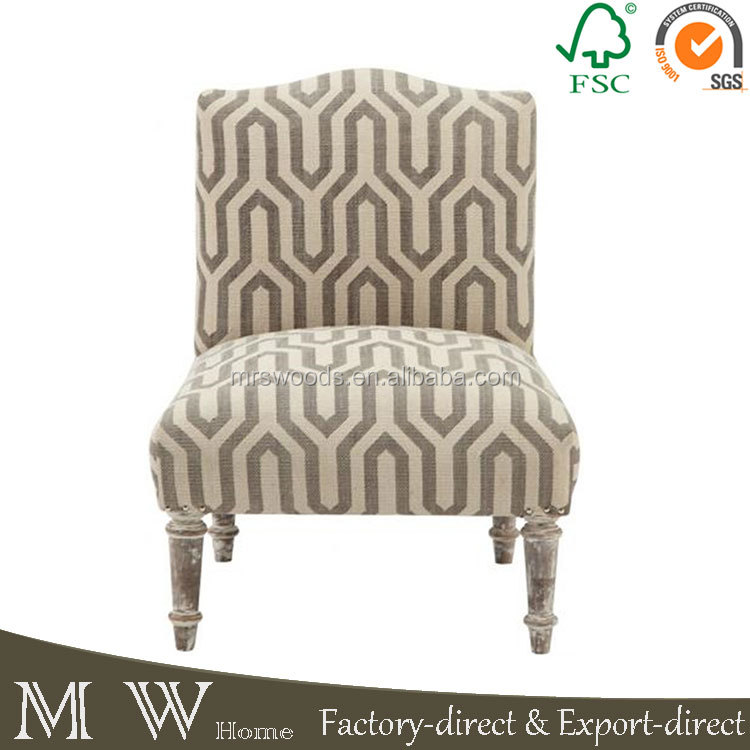 printed fabric upholstery sofa chair with wooden frame for lounge use