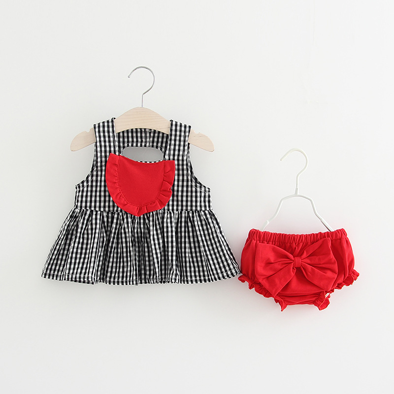 Summer Cute Clothes Cotton Baby Girls Fashion Sleeveless Two Piece Boutique Kids Wear Bangladesh