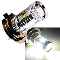 8X H7 30W DC12V 24V White 6Smd LED With Lens Fog Light Driving Lamp Bulb Auto Car Brake Light DRL Sourcing Lamp