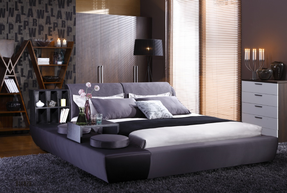New Design Fabric Bed With Tv In Footboard Bed With Bookcase And Coffee Table Buy New Design