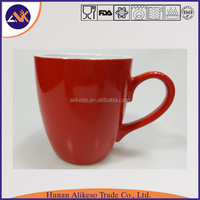 Large and cheap bulk red color new bone china ceramic coffee/tea/soup mug from China factory