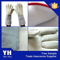 2015 LN2 cowhide grain leather Cryogenic Gloves low temperature resistant gloves