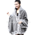 CX-B-P-25D Pashmina Shawl Wrap With Fox Fur Collar For Women