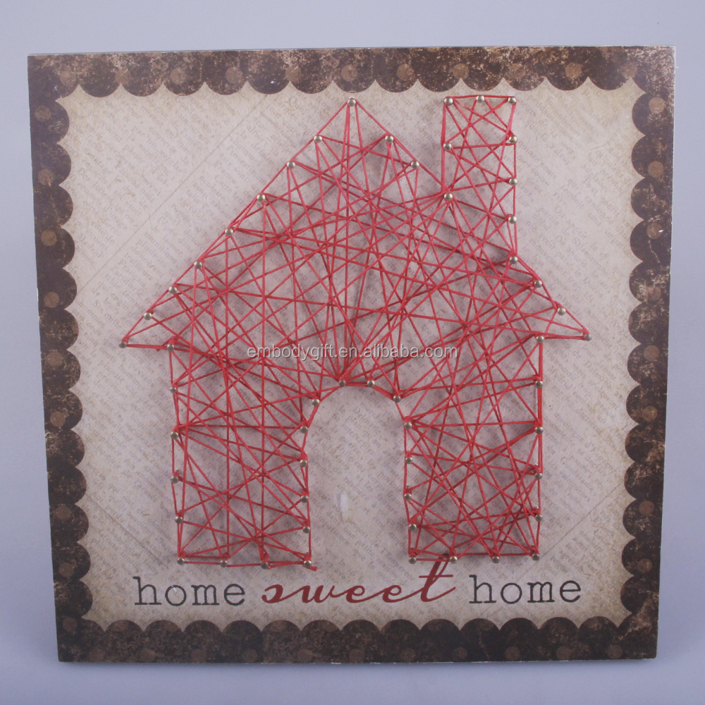 wooden string wall art with the house shaped design for back to school season