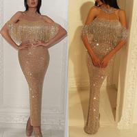 Golden Elegant Sexy Turkish Evening Dresses For Pregnant Women