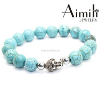 BD59 2015 Hot Fashion Silver Buddha Head Bead Bracelets Jewelry With Turquoise Beads For Men's & Women's Gifts