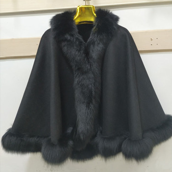 High Quality Genuine Fox Fur Cashmere Shawl/Cape/Poncho With Fox Fur Trim