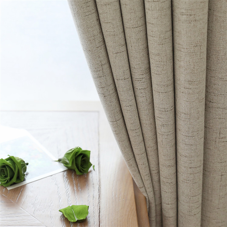 Faux Linen European Style Window Blackout Thermal Curtains