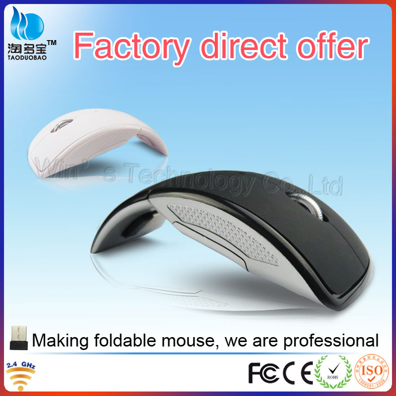 Slim 2.4Ghz Wireless Foldable Mouse With 1200dpi Crystal box packing From Mouse Factory