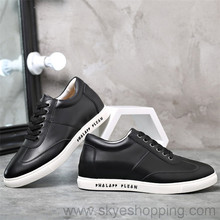 2017 Brand New Life Style Sports Shoes Black Business Leather Shoes Guangzhou Manufacturer