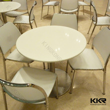 White solid surface round coffee table for coffee shop