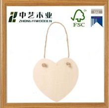 natural laser cut newest fashion handmade wooden heart ornament with jute hanger