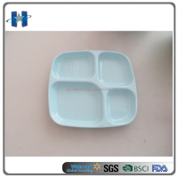 High quality blue kids melamine 4 section plate