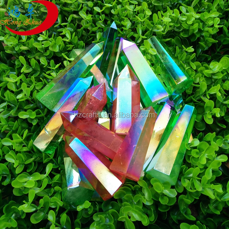 Beautiful natural aura crystal point/wand for whole price,polished clear crystal poing/wand/prism