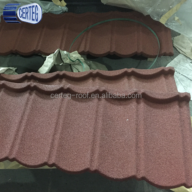 kerala sun stone coated red color metal roof tile