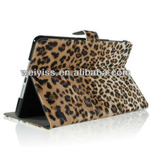Brown / Leopard Animal Print Premium PU Leather Protective Skin Smart Stand Case Cover Wallet Folio for iPad Mini