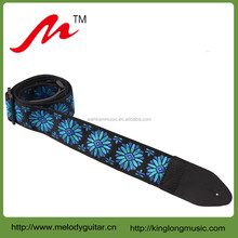 M-PL-JC2507 hot selling dark blue vintage jacquard woven guitar strap