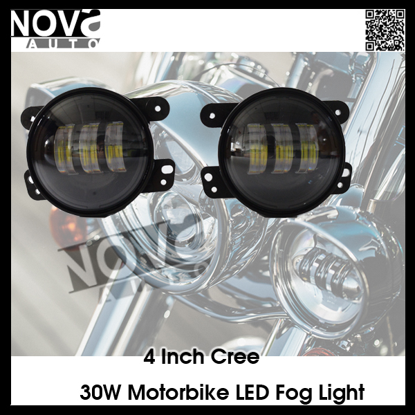 30W 1260lm black Harley LED Fog Light, 6000k led Fog Light, 4.5inch auto fog light