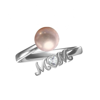 Mother day gift Mom heart ring 925 sterling silver mum oyster pearl mount ring finger adjustable open ring pearl settings