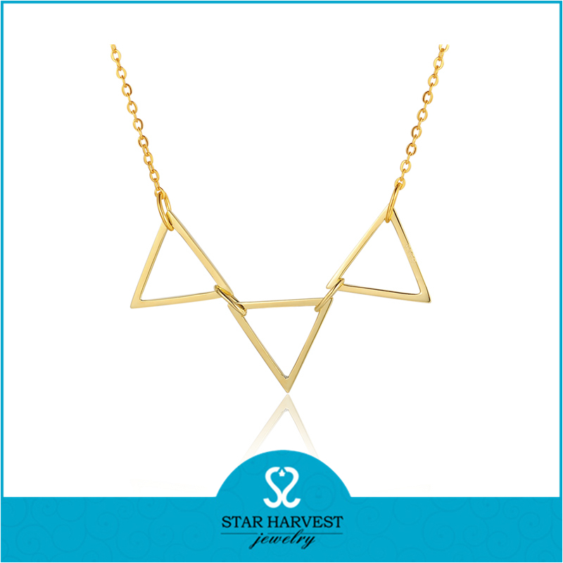 New Fashion Quality Gold Plating Statement Triangle Banner Collar Necklace