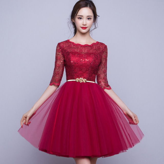 Short Rose Madder Cheap Chiffon Lace Sequins Appliqued Bridesmaid Dress