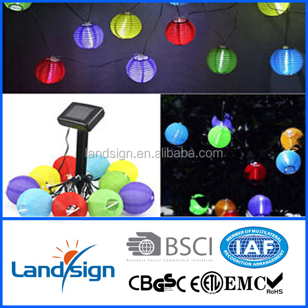 XLTD-112 Solar Fairy String Lights 10 Mini Colorful Fabric Lanterns for Outdoor Decor, Solar Chinese Lanterns