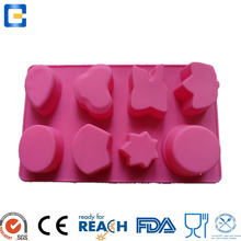 small MOQ eco-friendly FDA 6 cups homemade chocolate cake silicone mold