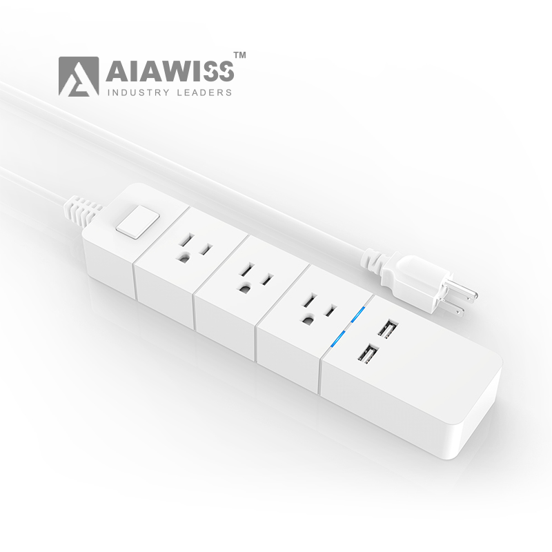 AIAWISS 3 outlets 2 usb ports universal socket plug extension cable vertical electrical usa power strip with <strong>switch</strong> and led