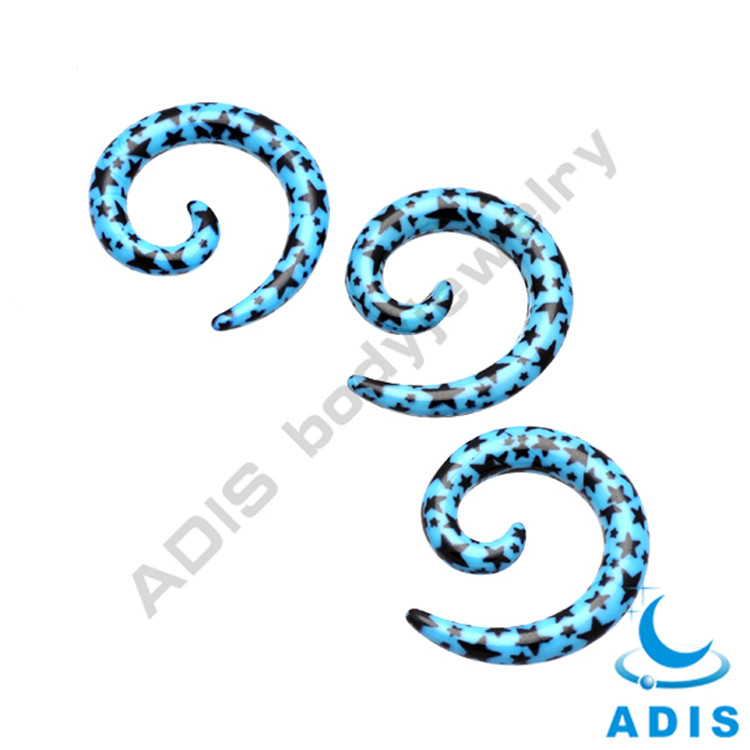 Wholesale fashion custom body piercing pattern acrylic curved spiral taper