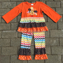 Adorable babygirls thanksgiving Day outfits ruffle top and pants winter clothes decorated lovely and attractive turkey sets