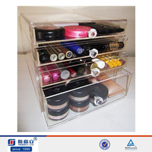 Acrylic 4 drawer makeup organizer ,sponge and brush holder set