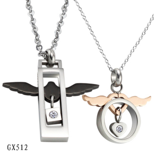 Fashion Necklace jewelry Metal angel wings pendant stainless steel men necklace
