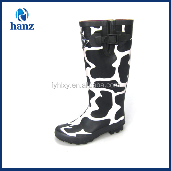 Sexy flower print women's rubber knee boots